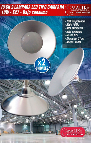 pack x2 lampara led campana 18w e27 tipo industrial bodegas