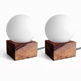 Pack X2 Lámparas Velador Madera Nórdico Julia Klik