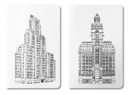 pack x2 libretas lisas 10x15 modelo edificios josefina jolly