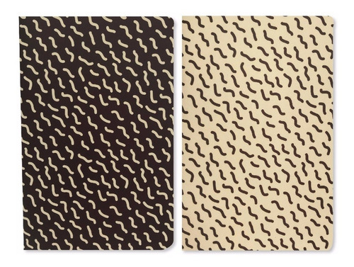 pack x2 libretas lisas 10x15 modelo gusanos papel ahuesado