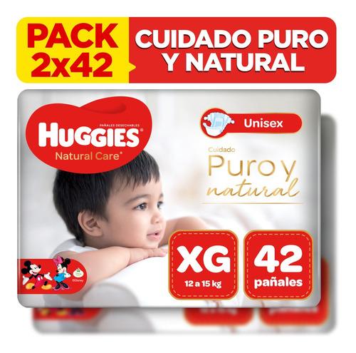 pack x2 pañal huggies natural care unisex talla xg 42 unid