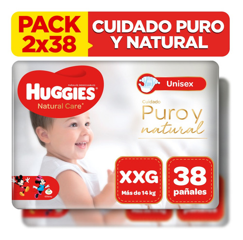 pack x2 pañal huggies natural care unisex talla xxg 38 unid