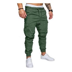 Pack X2 Pantalones Gabardina Cargo Bolsillos Puños Cintura