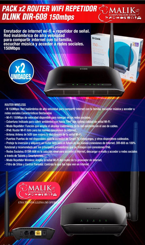 pack x2 router dlink dir608 inalambrico wifi 150mbps