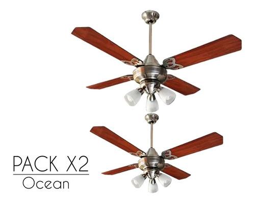 pack x2 ventilador martin & martin ocean platil con luz araña bombe x3, motor potenciado, palas madera, garantia