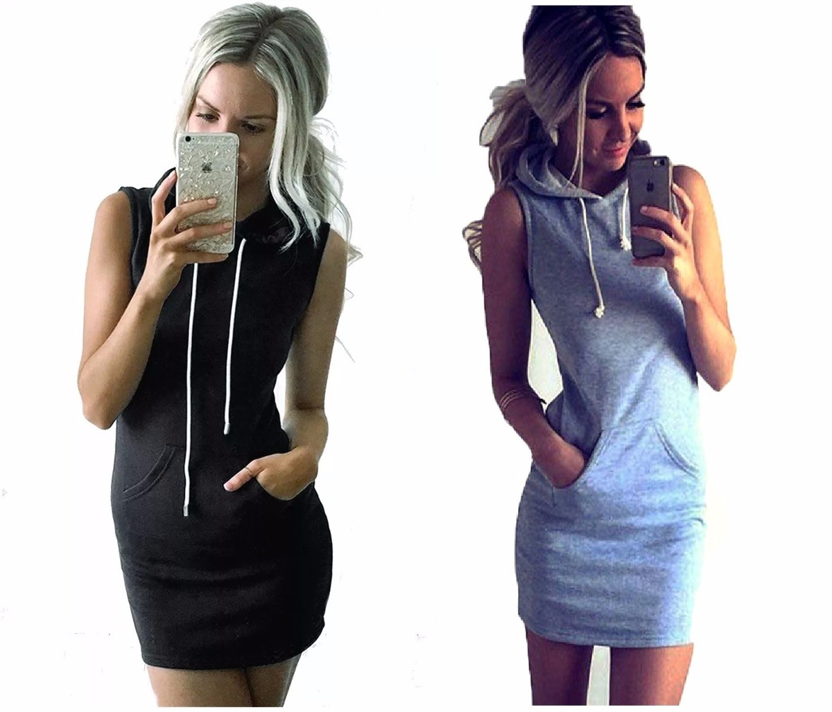 12d00e16e3fd Pack X2 Vestido Hoodie Vestido C capucha Entallado Mujer 17` -   659 ...