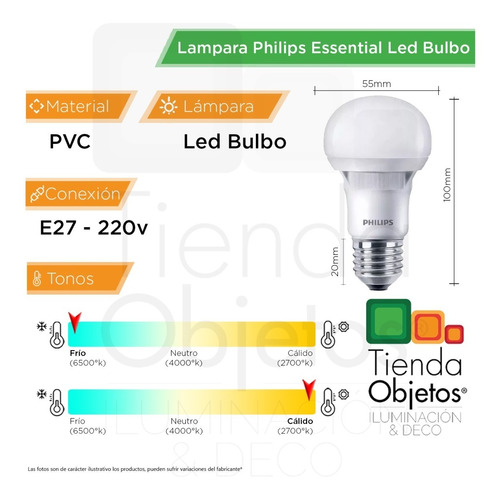 pack x20 lamparas philips led foco 7w 6w calida fria 220v