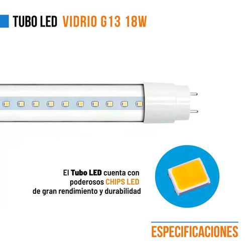 pack x20 tubo led 220v 18w = 36w 120cm vidrio gtia x mayor