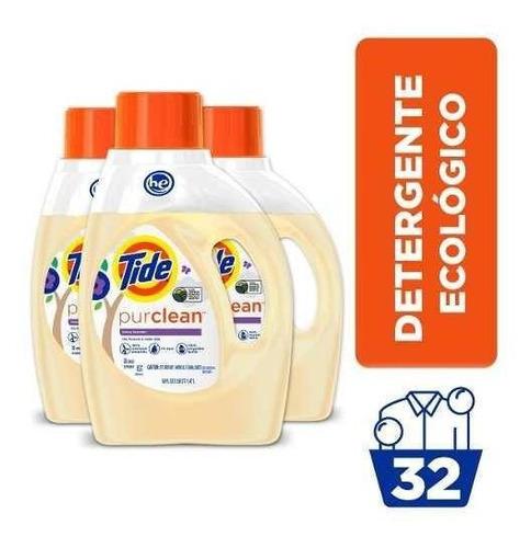 pack x3 detergente tide ecofriendly purclean 1.47 lt/32 lav