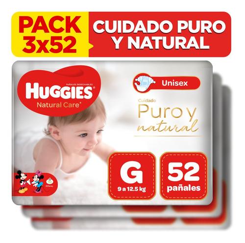 pack x3 pañal huggies natural care unisex talla g 52 unid