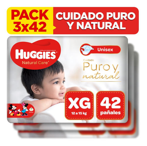 pack x3 pañal huggies natural care unisex talla xg 42 unid