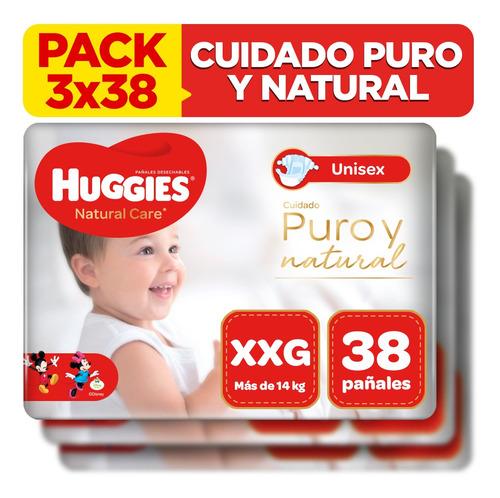 pack x3 pañal huggies natural care unisex talla xxg 38 unid