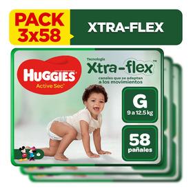 Pack X3 Pañal Huggies Xtraflex Active Sec Talla G 58 Unid