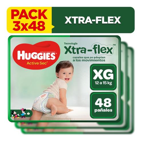 pack x3 pañal huggies xtraflex active sec talla xg 48 unid