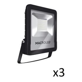 Pack X3 Reflector Led 50w Proyector Premium 6500k Macroled