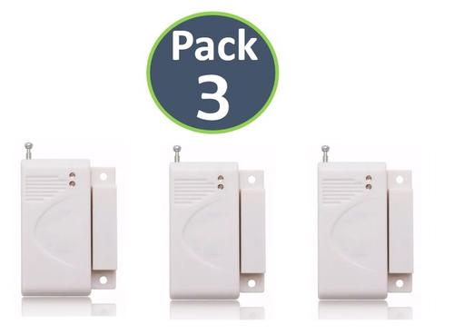 pack x3 sensor magnético inalámbrico alarma gsm 433 mhz