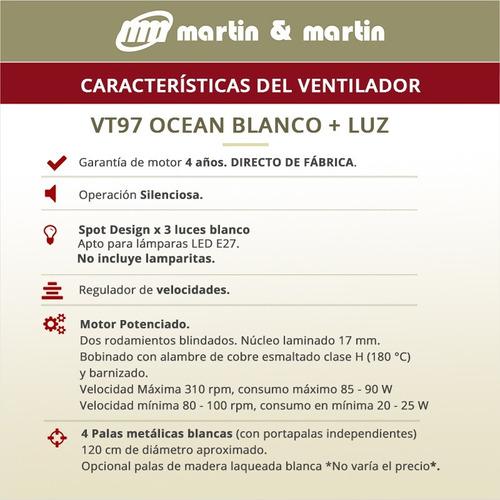 pack x3 ventilador martin & martin ocean blanco con luz araña bombe, palas madera o metal, motor potenciado, garantia