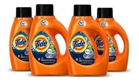 pack x4 detergente tide he sports 1,36 lt./29 lv