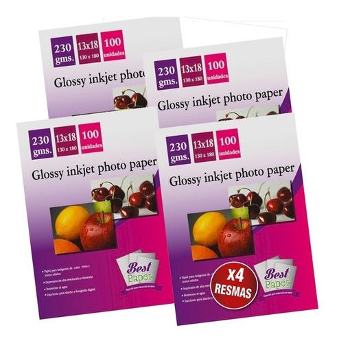 pack x4 papel fotografico brillante 13x18 cm 100hjs 230gr
