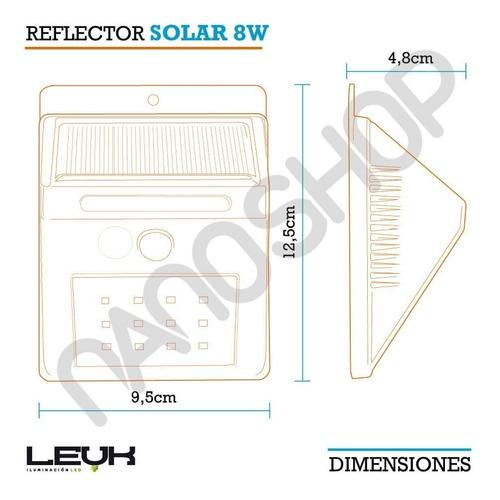 pack x4 reflector led panel solar 12 leds sensor mov = a 80w