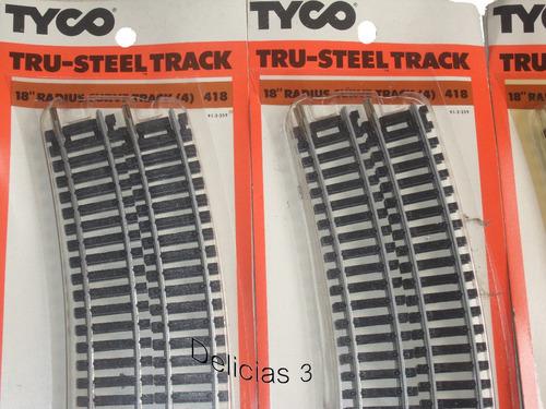 pack x4 vias curvas para circuito ho 18'' marca tyco 25 cm
