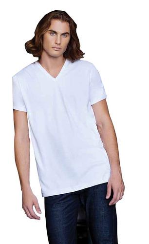 pack x5 camiseta interlock manga corta cuello v tres ases