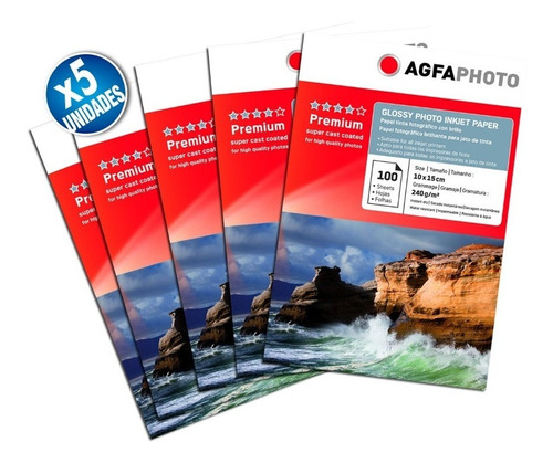pack x5 papel glossy agfa premium 10x15 240gr 500 hojas