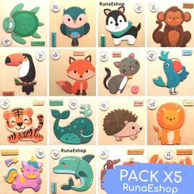 Pack X5 Rompecabezas Animales Madera Didáctico