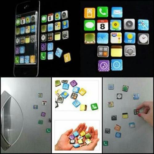 pack x5 tabletas de 18 imanes tipo iconos iphone (mayorista)