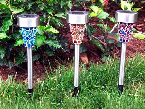 pack x6 estacas led solar de jardín recargable un led