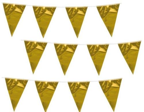 pack x6 tira guirnalda banderin bandera dorada banderas 5m