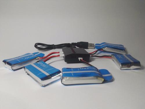 pack5 baterias 750 mah + cargador drone syma x5c, x5sw, x5hw