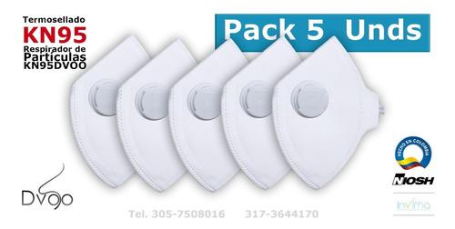 pack5 unds tapabocas n95 termosellado, mascara n95 pack5
