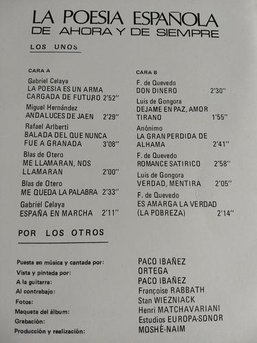 paco ibáñez lp la poesía española de ahora y de siempre r