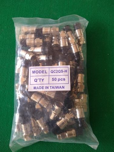 pacote 50 conectores rg6 de pressão pretos