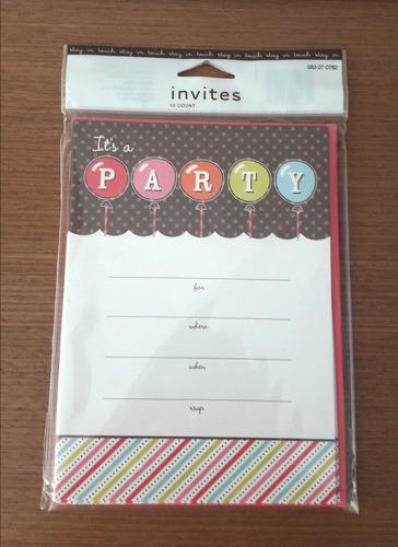 pacote com 10 convites festa - importado!