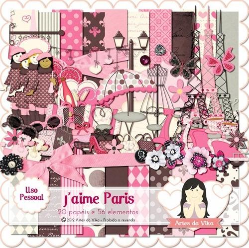 pacote com 10 kits de papéis paris imagens clipart