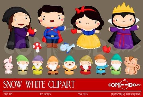 pacote com 10 kits de princesa branca de neve papéis imagens