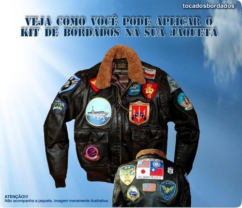 pacote com 17 pçs patchs bordados filme top gun para jaqueta