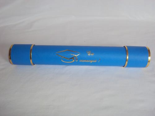 pacote com 20canudo de formatura  eu consegui ! azul celeste