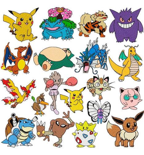 pacote com 41 matrizes de bordados pokemon pikachu pokebola.