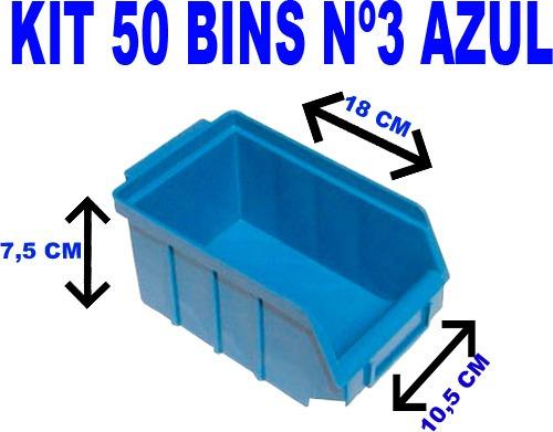 pacote com 50 bin caixa gaveta plástica azul nº 3