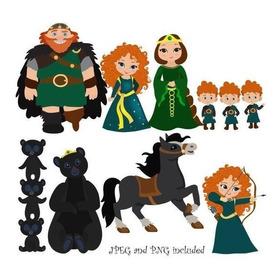 Pacote Com 7 Kits De Princesa Merida Valente Imagens Clipart