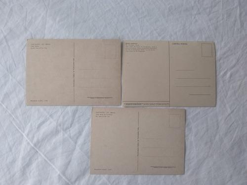 pacote de 3 cartoes postais de vistas aereas de fortaleza