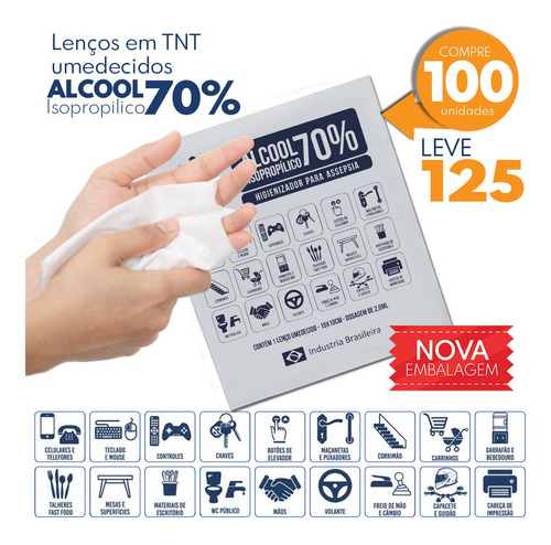 pacote de lenço umedecido com alcool em gel 70% c/100 unid