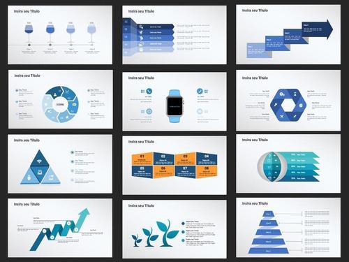 pacote de slides, stores animados e infograficos