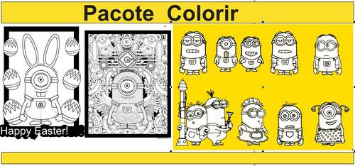 pacotão vetores minions, templates,papeis, colorir.