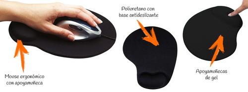 pad mouse con soporte en gel para muñeca