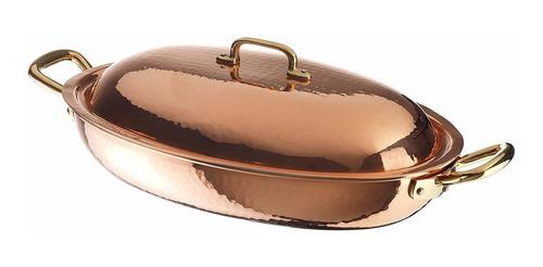 paderno world cuisine copper-tin bandeja para asar ovalad