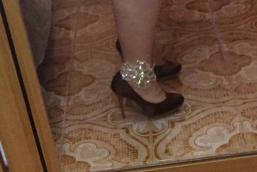 padrísima pulsera tobillo plateada fiesta graduación boda